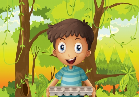 eggtray: Illustration of a boy holding an empty eggtray in the forest