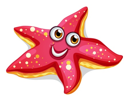 bulging eyes: Illustration of a smiling starfish on a white background