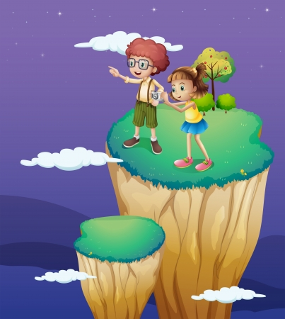 overlooking: Illustration of the two kids taking photos from the top Illustration