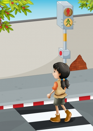 Illustration of a girl with a brown shoes crossing the street Vector