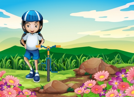 drawing safety: Illustration of a young girl with a bike standing near the rocky area Illustration