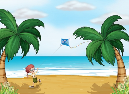 Illustration of a young boy playing with his kite at the beach Vector