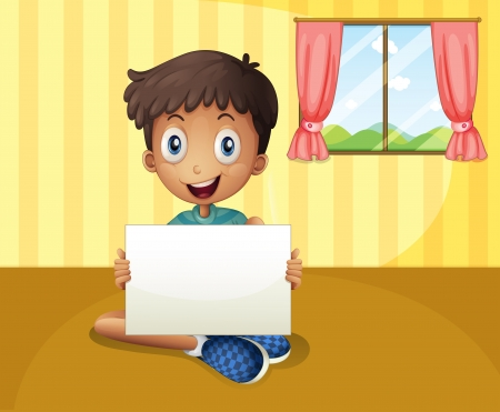 boy with glasses: Illustration of a boy sitting at the floor with an empty signboard Illustration
