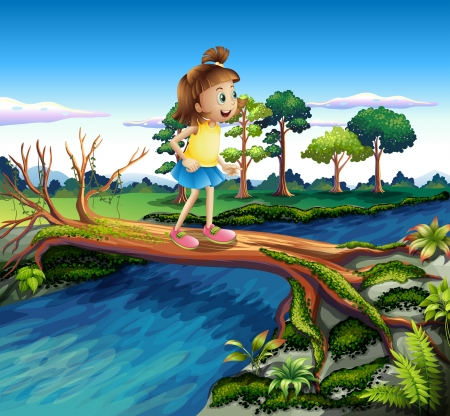 children pond: Illustration of a small girl crossing the river