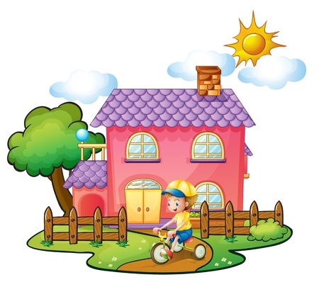 big and small: Illustration of a little boy playing in front of their house on a white background