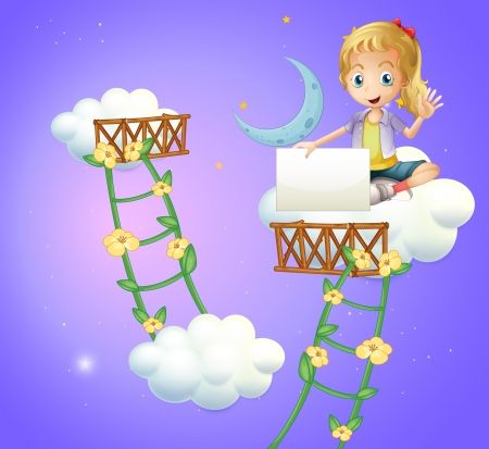 improvised: Illustration of a girl sitting above a cloud holding an empty signboard
