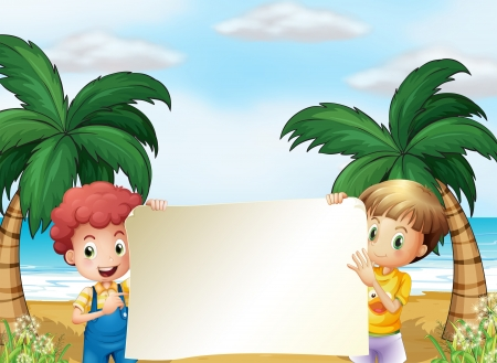 beach boy: Illustration of the two male kids holding an empty signboard