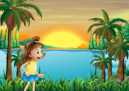river water: Illustration of a young girl playing near the river Illustration