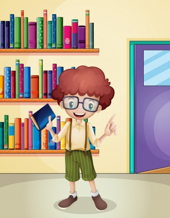Illustration of a smiling boy holding a book in front of the bookshelves Stock Vector - 21426957