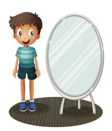 白い背景上にあるミラーの横に立っている少年のイラスト