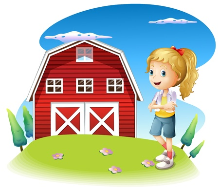 Illustration of a girl in front of the red barnhouse in the hilltop on a white background Stock Vector - 21426961