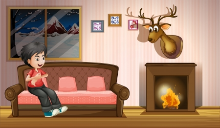Illustration of a boy sitting at the sofa near the fireplace Illustration