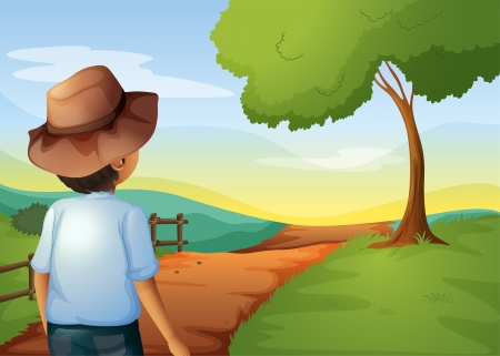 backview: Illustration of a backview of a young farmer Illustration