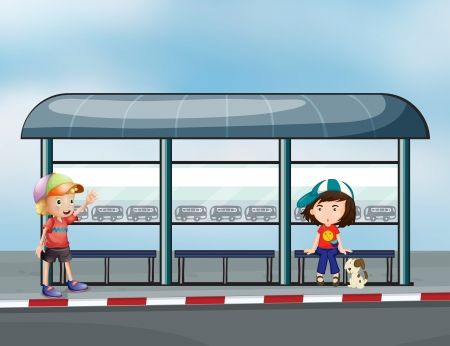 Illustration of the passengers at the waiting shed Illustration