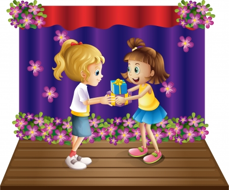 wrapped corner: Illustration of a girl giving gifts to her friend on a white background