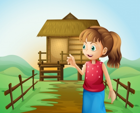 house: Illustration of a woman in front of the nipa hut in the farm Illustration