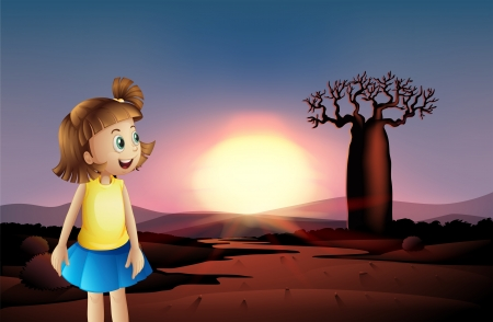 Illustration of a small girl at the desert wearing a blue skirt Stock Vector - 21426989