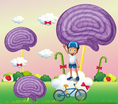 Illustration of a boy above a cloud near the candyland Vector