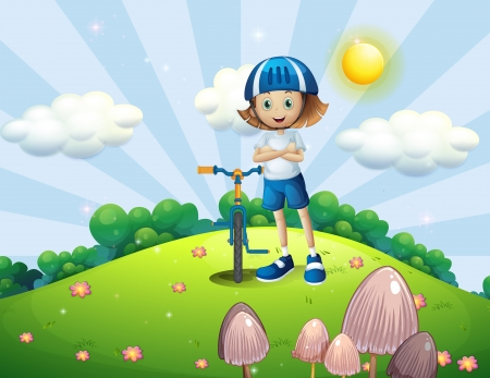 bicycle helmet: Illustration of a hilltop with a female biker wearing a helmet