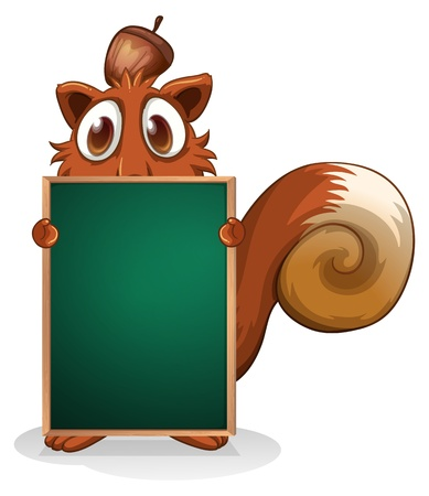 menu board: Illustration of a squirrel hiding at the back of an empty blackboard on a white background Illustration