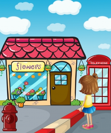 Illustration of a small girl watching the flower shop Vector