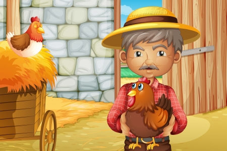 barnhouse: Illustration of an old man holding a rooster inside the barnhouse