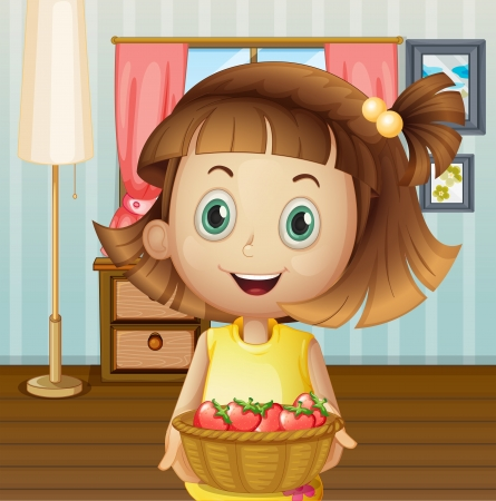 Illustration of a girl with a basket of berries inside the house Vector