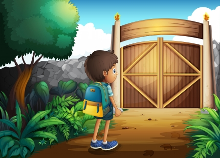 school yard: Illustration of a young boy going to the school