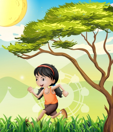 noontime: Illustration of a girl running at the field
