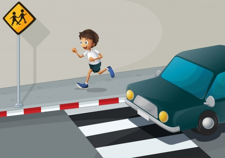 Illustration of a man running at the road with a car Stock Vector - 21427017