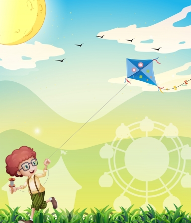 Illustration of a boy playing with his kite Vector