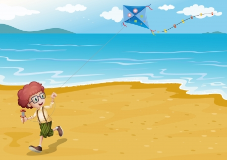 Illustration of a beach with a boy playing Vector