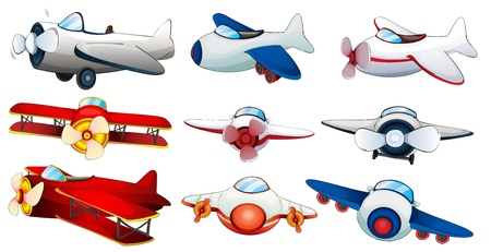 spacecraft: Illustration of the different plane designs on a white background