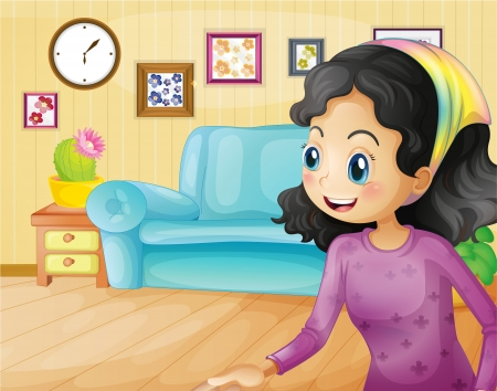 Illustration of a happy mother in the living room Vector