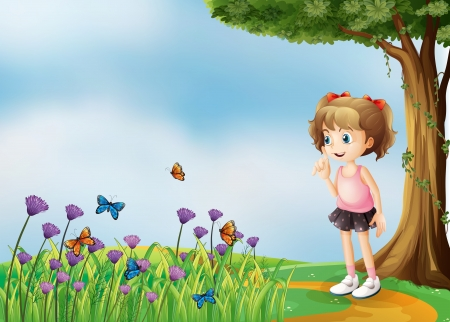 Illustration of a small girl above the hill with a garden