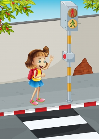 Illustration of a happy young girl with a backpack Vector