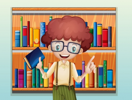 storyteller: Illustration of a happy boy with a book standing in front of the bookshelves