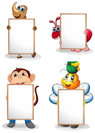 cartoon ant: Illustration of the four whiteboards in front of the four animals on a white background Illustration