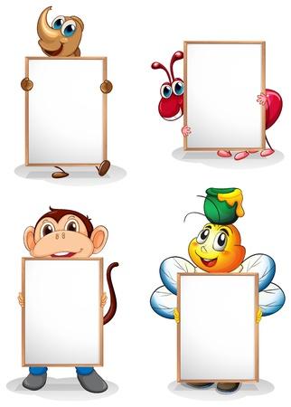 hormiga caricatura: Ilustración de los cuatro pizarras en frente de los cuatro animales en un fondo blanco Vectores