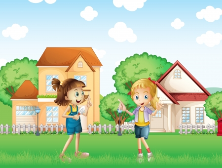 payphone: Illustration of the two young ladies playing in the ground in front of the houses