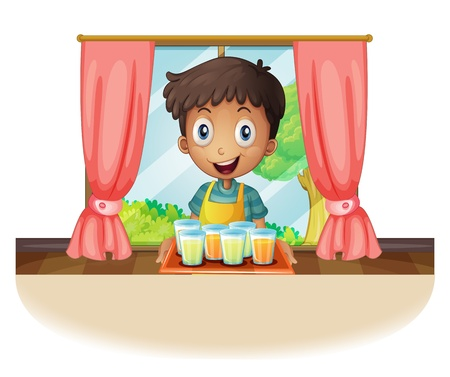 quencher: Illustration of a boy holding a tray of juice on a white background