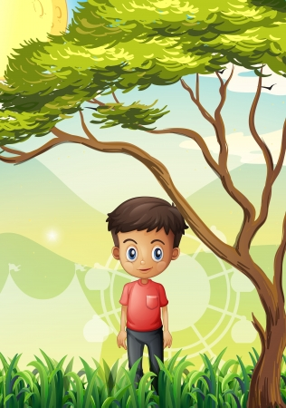 Illustration of a young man standing at the field near the giant tree Vector