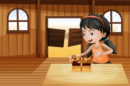 Illustration of a girl unwrapping a gift above the table in the saloon bar Vector