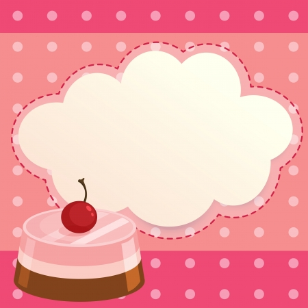 pinkish: Illustration of a pink paper note with a cake