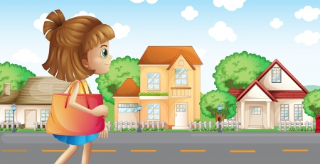 sideview: Illustration of a girl walking across the neighborhood