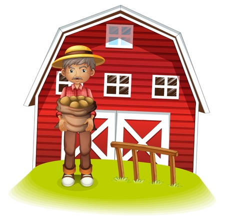 barnhouse: Illustration of an old man with a sack of potatoes on a white background Illustration