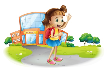 college building: Illustration of a girl going home from school on a white background