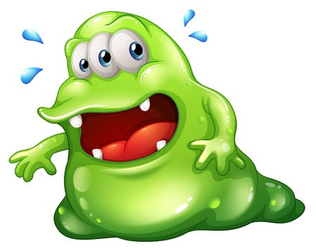 escaping: Illustration of a greenslime monster escaping on a white background