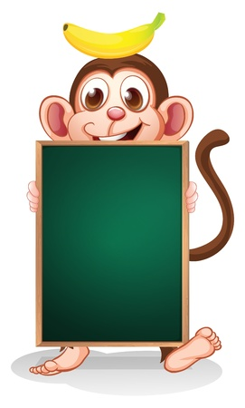 empty frame: Illustration of a monkey with a banana on his head holding an empty blackboard on a white background