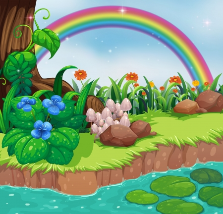 Illustration of a riverbank with flowers and a rainbow
